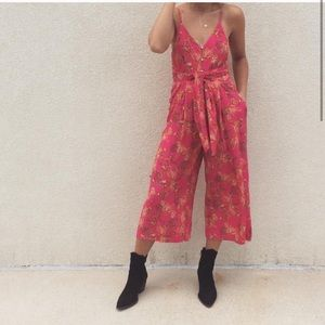 •Free People• Hot Tropics Cropped Jumpsuit Pink